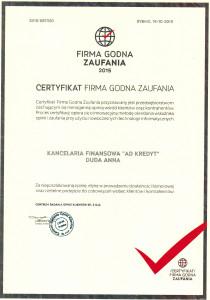 Certyfikat Firmy Godnej Zaufania